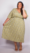 CurveWow Yellow Floral Wrap Maxi Dress