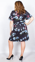 CurveWow Navy Floral Frill Sleeve Dress