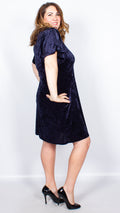 CurveWow Navy Velor Frill Sleeve Dress