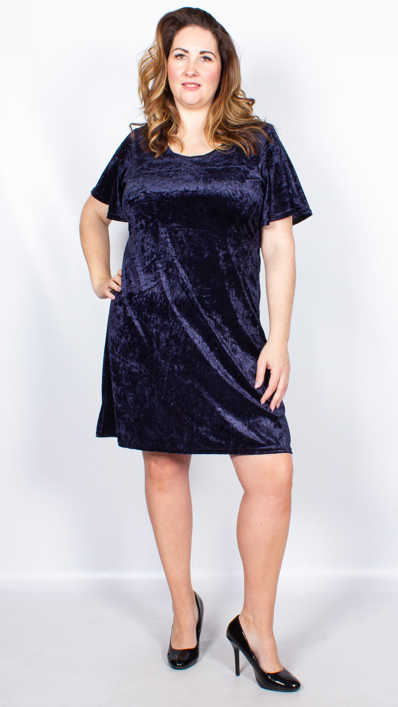 CurveWow Navy Velour Frill Sleeve Dress