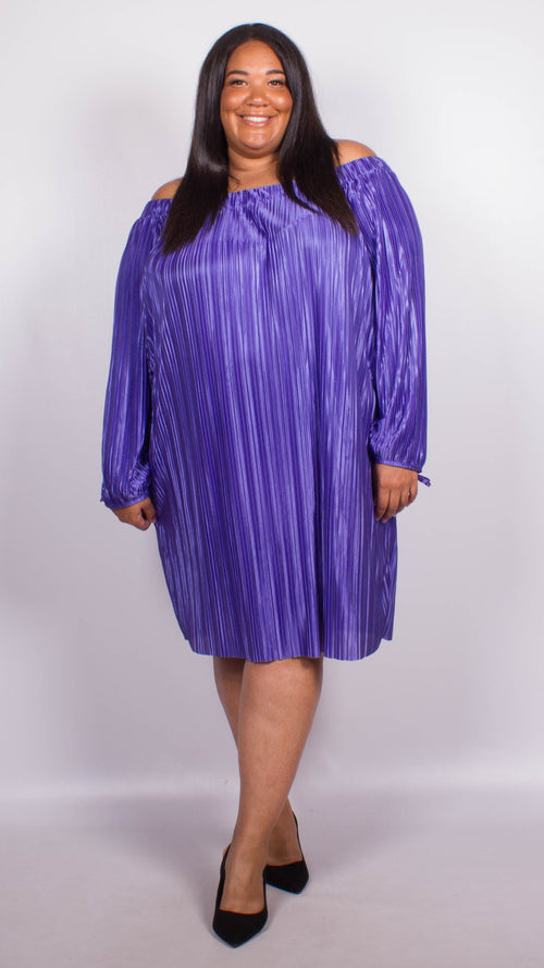 Mollie Purple Off The Shoulder Pleat Dress
