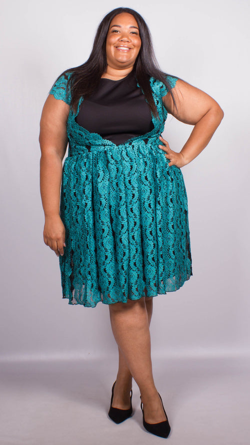 Stacey Blue Scallop Lace Skater Dress