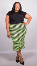 Georgia Lime Stripe Fish Tail Ponte Skirt
