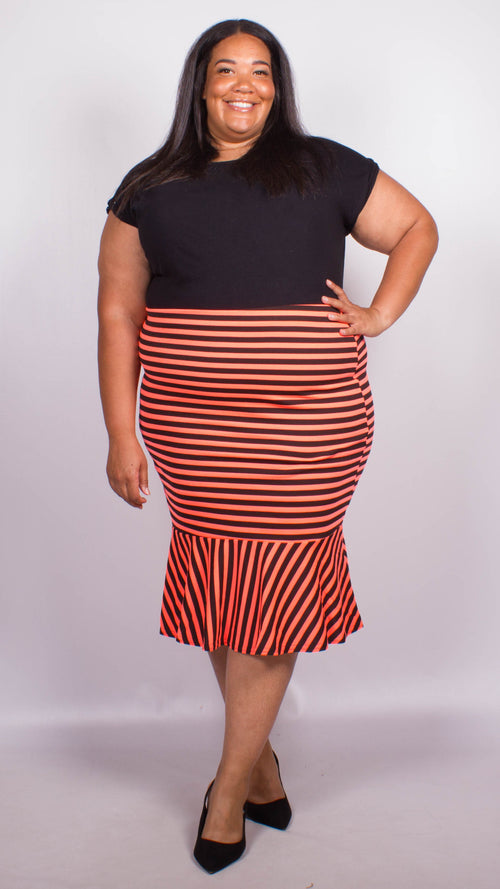 Georgia Orange Stripe Fish Tail Ponte Skirt
