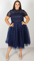 Chi Chi Curve Ari Navy Skater Dress