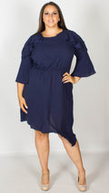 Bridget Navy Asymmetric Skater Dress with Frill Detail