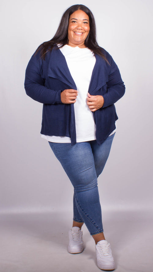Ella Navy Waterfall Soft Knitted Cardigan