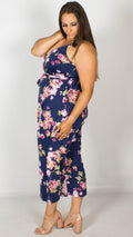Carrie Navy Floral Wrap Spaghetti Strap Jumpsuit