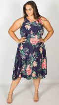 Deana Navy Floral Print Swing Dress