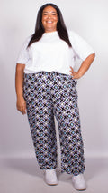 Scarlett Navy Pull on Printed Trousers