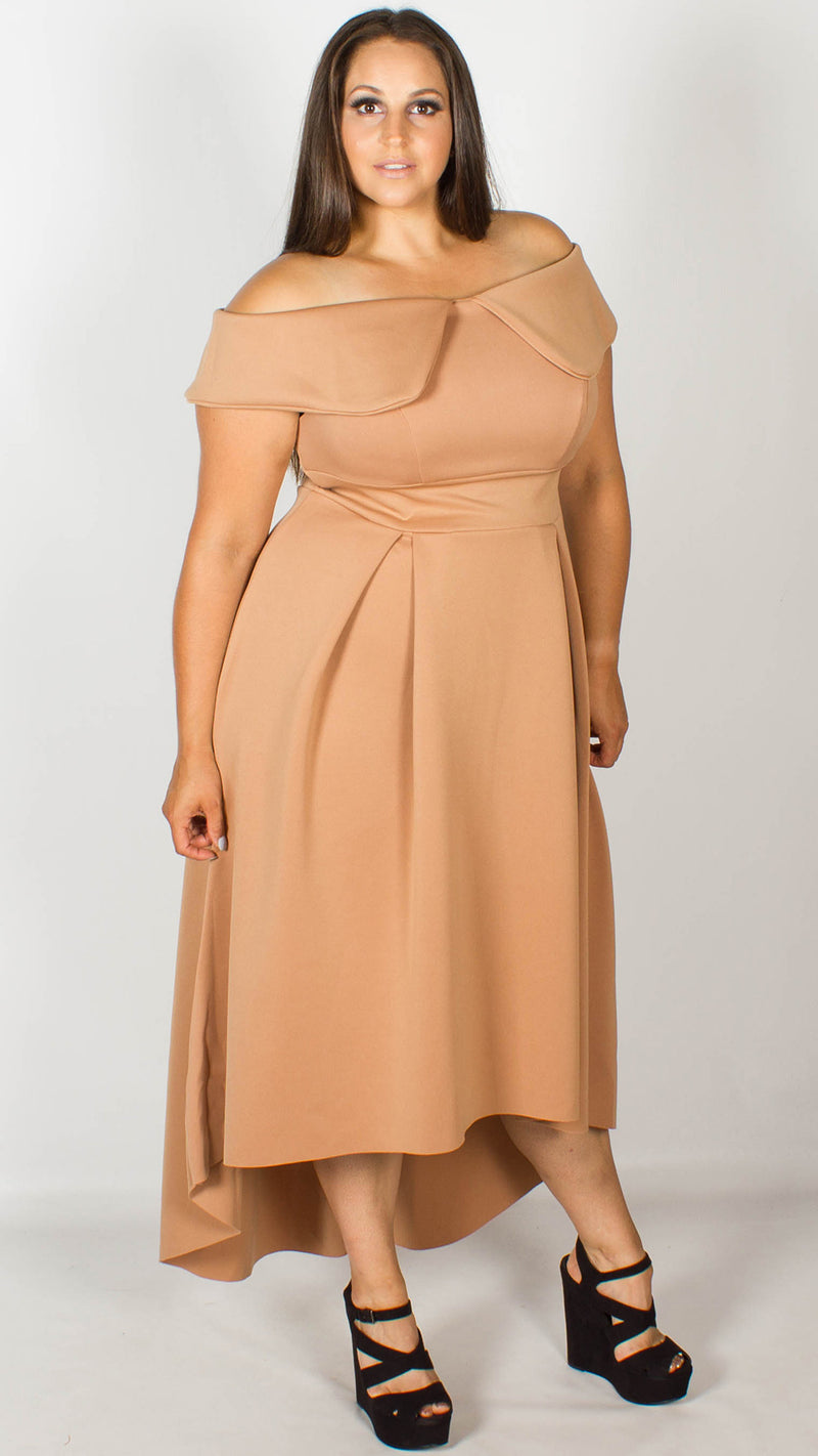 Betty Deep Bardot Camel Scuba Dress