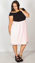 Courtney Pink and Black Bardot Skater Dress
