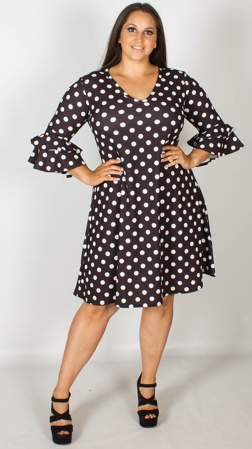 Catherine Black and White Polka Dot Swing Dress