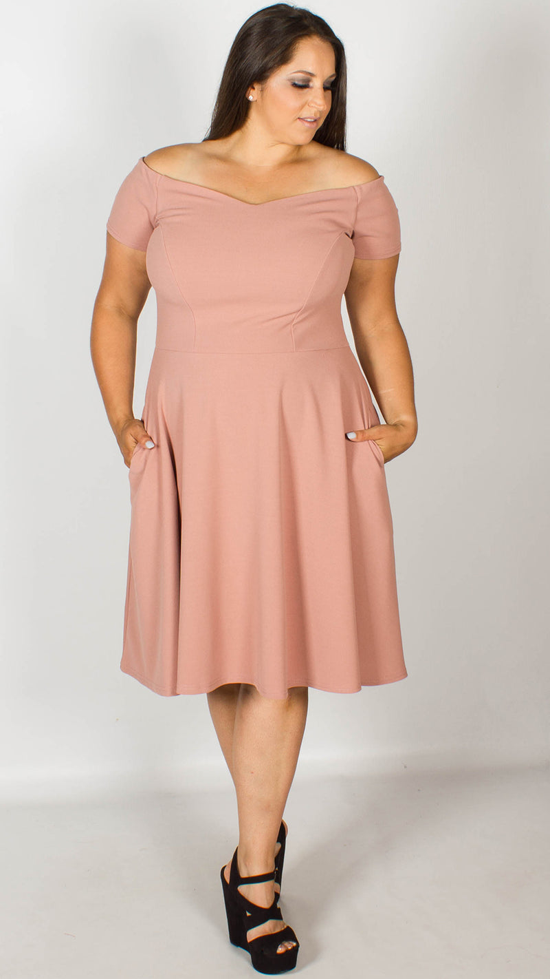 Honey Off the Shoulder Rose Fit and Flare Dress