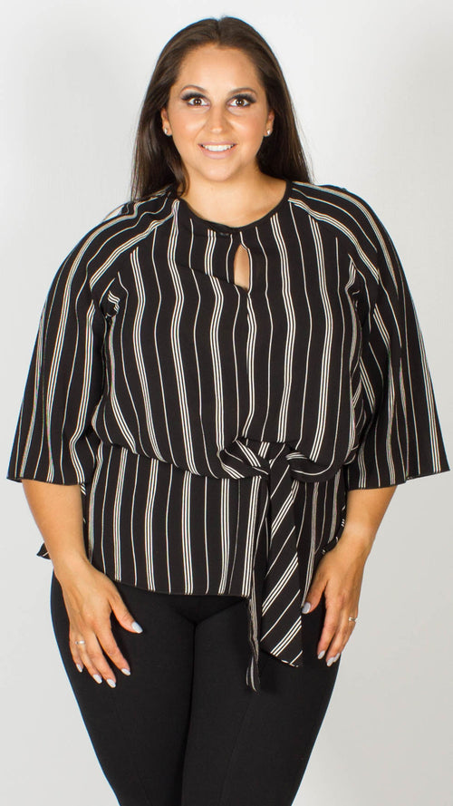 Blair Pinstripe Knot Front Blouse with Keyhole Detail
