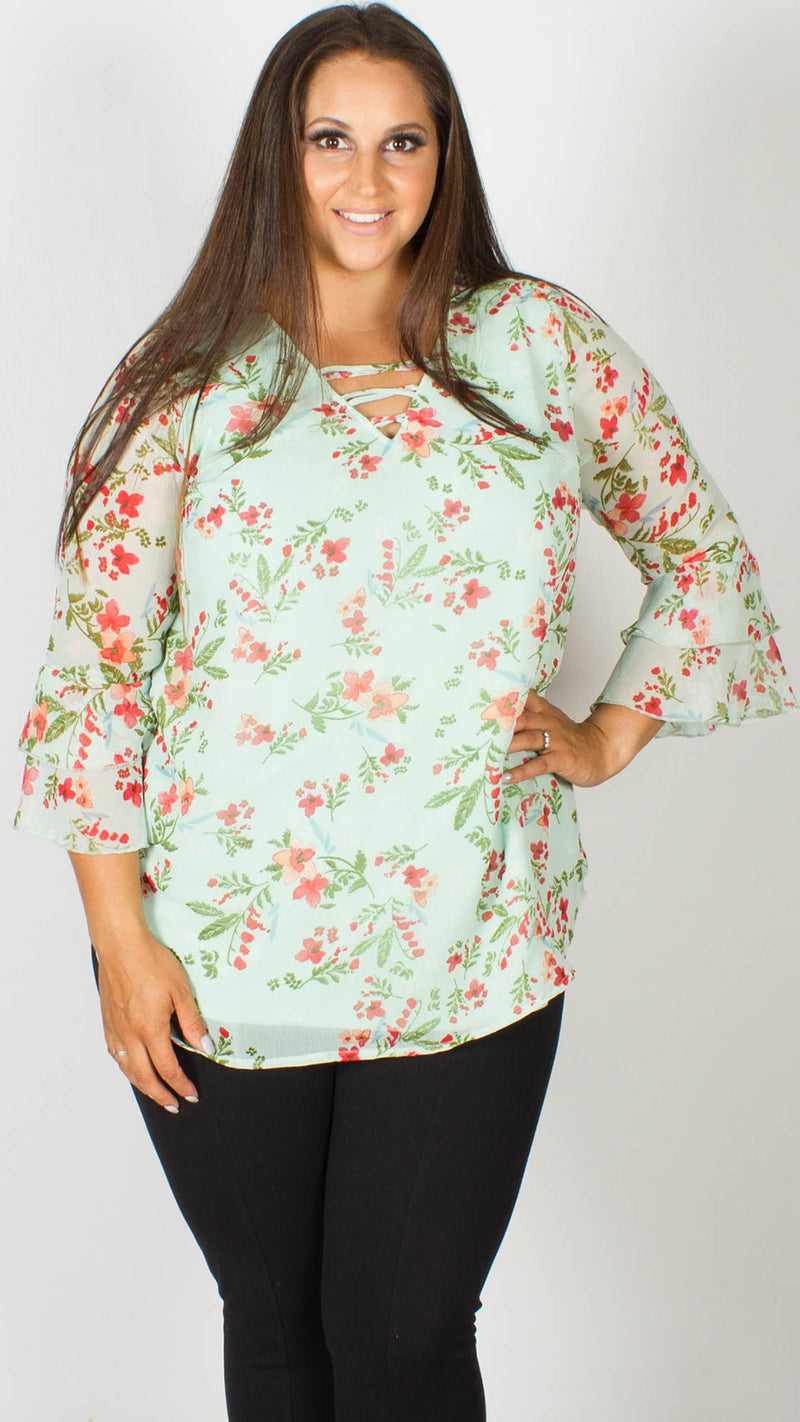 Crystal Floral Blouse with Double Frill Sleeves