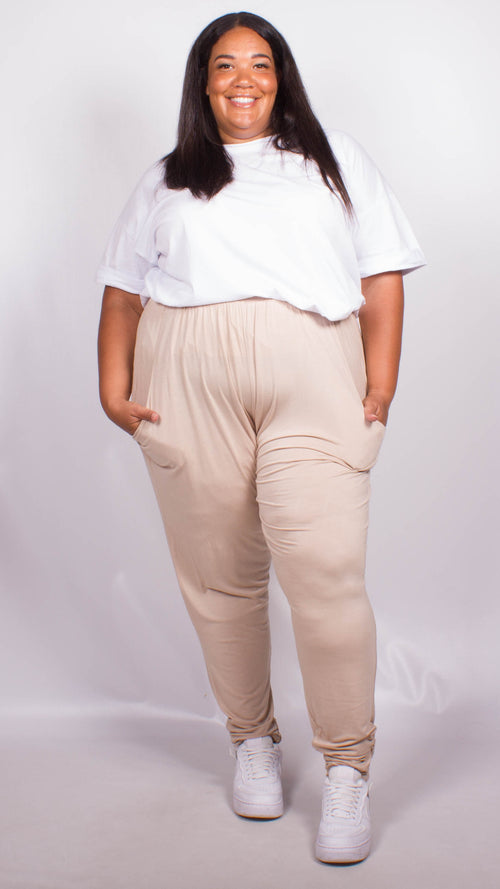 Sarah Beige Two Pocket Lounge Pants