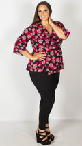 Diana Black and Red Floral Wrap Top