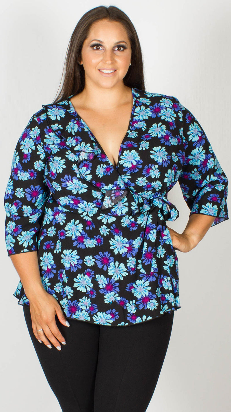 Diana Black and Blue Floral Wrap Top