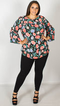 Dawn Floral Print Blouse with Frill Detail