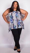 Charley Blue Floral Sleeveless Top