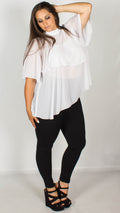 Carly White Sheer Double Layer Top