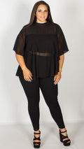 Carly Black Sheer Double Layer Top