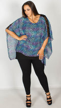 Belle Blue Animal Print Kimono Top