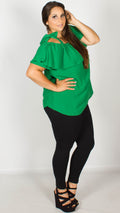 Bailey Emerald Tie Shoulder Bardot Top