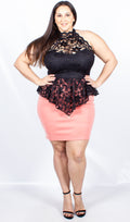 Cher Lace Bodice Contrast Dress Pink