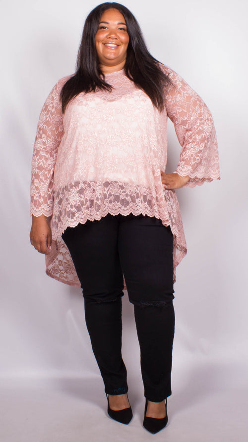 Elena Blush Lace Dip Hem Blouse