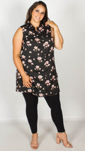 Claudia Black Floral Print Sleeveless Shirt
