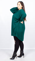 CurveWow Batwing Long Hem Dip Top Green