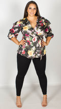 Cindy Floral Wrap Top with Frilled Shoulders
