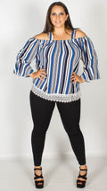 Brittany Blue Striped Cold Shoulder Top
