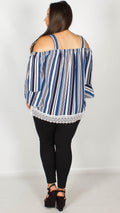 Brittany Blue Stripped Cold Shoulder Top