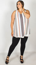 Lynette Chiffon Stripe Split Back Sleeveless Top