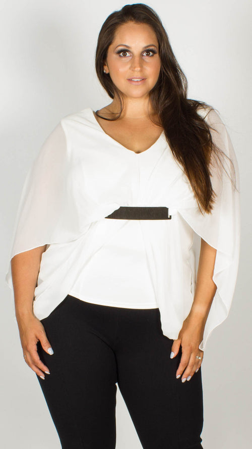 Alejandra Cream Plain Plate Drape Top