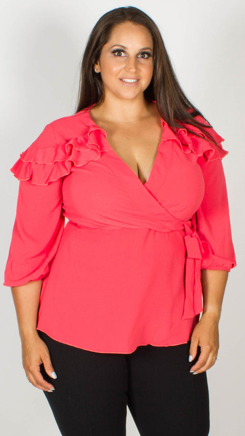 Cindy Coral Wrap Top with Frilled Shoulders