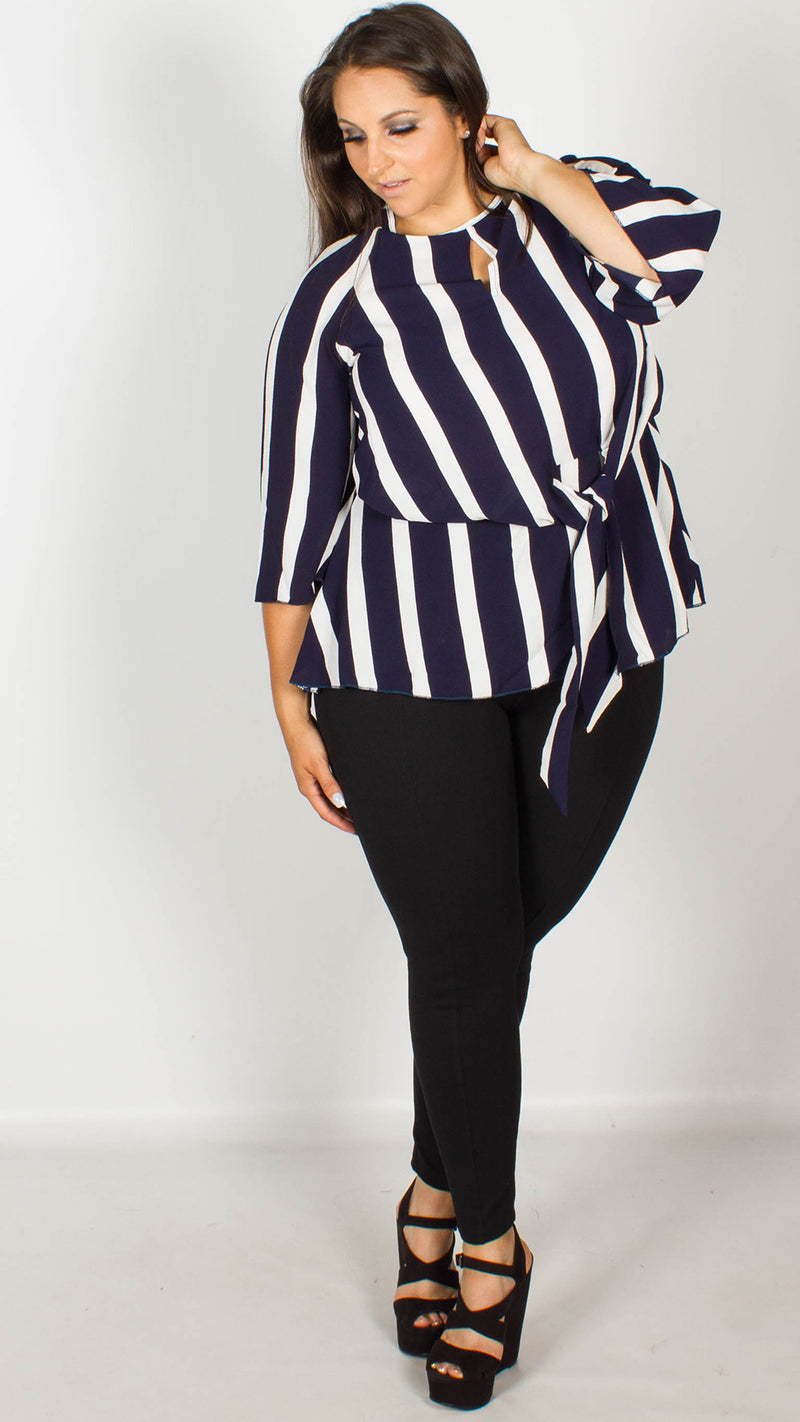 Blair Stripe Print Knot Front Blouse with Keyhole Detail