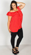 Beatrice Red Stripe Bardot Top with Button Front