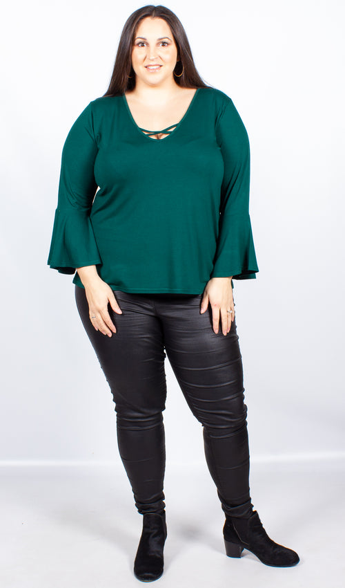 CurveWow Green Swing Top with Fit & Flare Sleeves