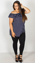 Beatrice Navy Stripe Bardot Top with Button Front