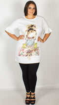 Donna White Longline Graphic Appliqué T-Shirt