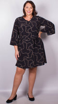 Maya Black Chain Print Dress