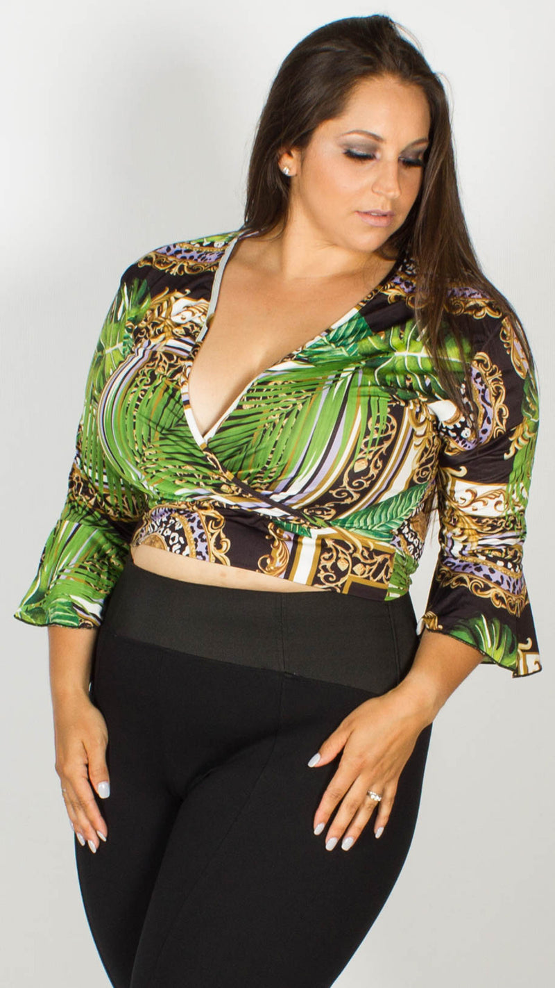 Denise Baroque Print Wrap Crop