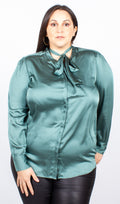 Harriet Tie Neck Green Satin Blouse