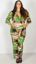 Denise Baroque Print Wide Leg Trousers