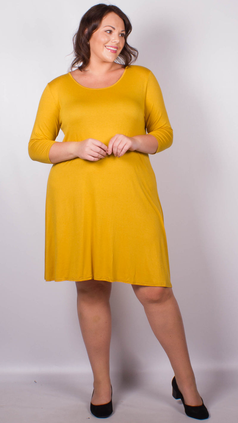 CurveWow Swing Dress Mustard