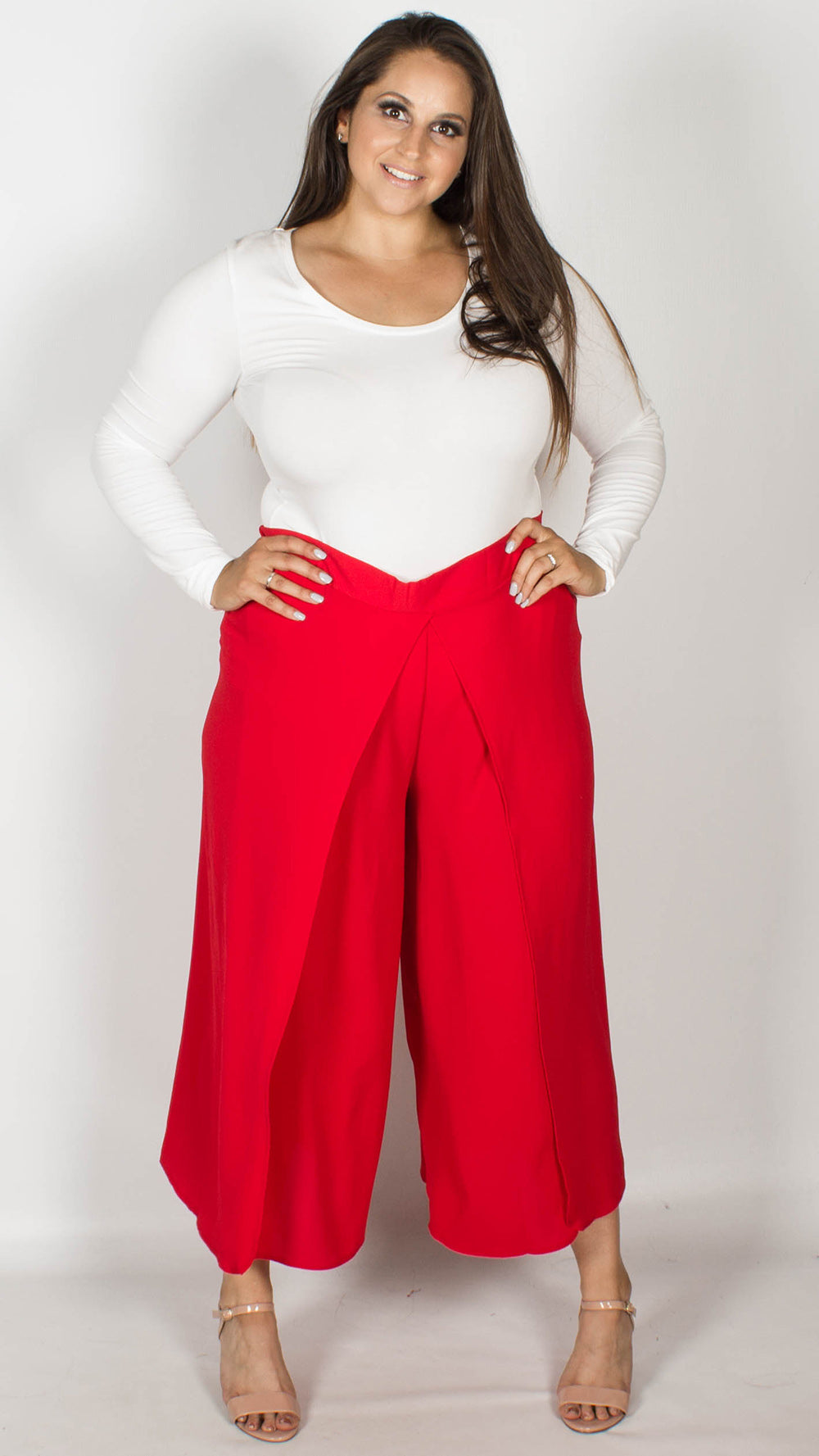 fca5350477a Bianca Red Wrap Front Culottes – Curvewow